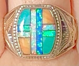 Vintage Heavy SILVER 925 Opal Turquoise Cross Ring Men's opal Eagles  10.25 U