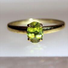 Stunning Peridot Solitaire 9ct Yellow Gold ring size U ~ US 10 1/4