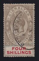 Gibraltar Sc #73 (1912) 4sh black & scarlet King George V VF Used