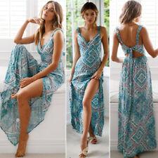 Women Sexy Sleeveless Lace Boho Floral Maxi Dress Ladies Summer Sundress Beach