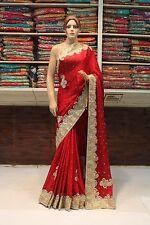 Indian Ethnic Designer Hand Crafted Crepe Jacquard Saree Sari Bridal Party Dress
