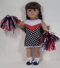 RED BLUE WHITE July 4th Flag Cheerleader Doll Clothes For 18 American Girl (Debs