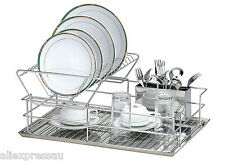 Kitchen Stainless Steel Dish Drying Rack Cutlery Drainer Dryer Tray - Double