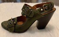 Vintage Frye Amy Slingback Shoes Sz 10 M FLAW Leather Olive Heeled Buckles