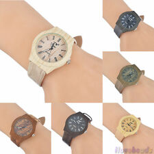 Women Men's Vintage Wood Imitate Roman Numeral Scale Dial Leather Wrist Watch