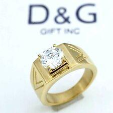 DG Men's Gold Stainless Steel CZ Wedding Ring 7 8,9 10 11 12 13*BOX