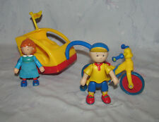 2002 PBS Little Tikes Cinar Caillou Figures, Rosie, Park Adventure Bike/trailer