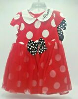 Disney Baby Girl's 18-24 Months Minnie Mouse Dress Ears Headband Tulle Skirt Red