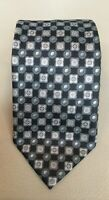 Recent Ermenegildo Zegna Black Silver Geometric Patterned Silk Tie Made in Italy