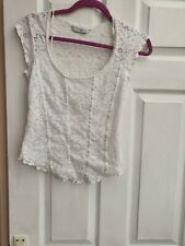 Ladies Top White Lacy size 8