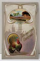 Thanksgiving Greetings Turkey Embossed Postcard B11
