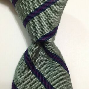 OXXFORD CLOTHES Mens 100% Silk Necktie USA Designer STRIPED Green/Blue Thick EUC