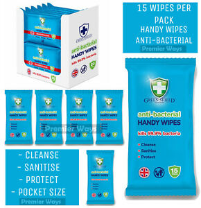GREEN SHIELD ANTI BAC HAND BODY FACE TRAVEL POCKET SIZE HAND WASH WIPES