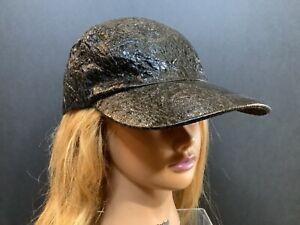 Zara Women Black faux leather Baseball Cap Adjustable hat sz M