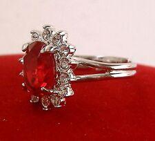 Plaqué or blanc femme Bague/anneau Rouge zircon cristal ,54#
