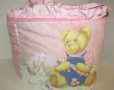 Blue Jean Teddy BJT Pink ruffled crib bumper pad small spot