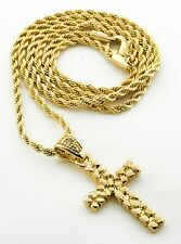 """24"""" 2.5mm Rope Chain Hiphop Necklace 3119 + White Gold Pt Nugget Cross with"""