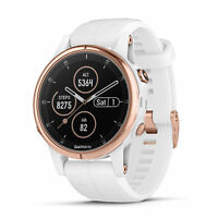 Garmin fenix 5S Plus 42mm Sapphire Multisport GPS Watch White/Rose Gold Band