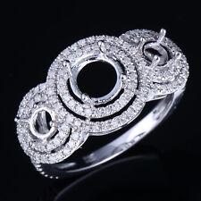 3-Stone Wedding Fine Ring Round Semi Mount Solid 10K White Gold Diamond Jewelry