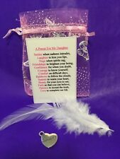 A Prayer For My Daughter Christmas Love Happiness Charm and Feather
