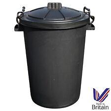 BLACK 85 Litre Extra Large Heavy Duty Plastic Bin Dustbin Storage Unit with Lid