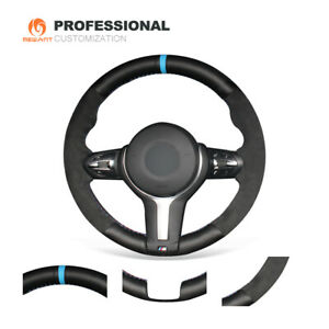 Car Steering Wheel Cover Black Suede Real Leather for BMW F22 F30 F32 M2 M3 M4