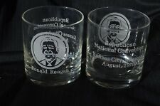2 Ronald Reagan 1976 Republican National Convention Kansas City etched glasses
