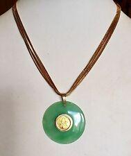 14K YELLOW GOLD 2004 5 YUAN 1/20 CHINESE PANDA COIN ENCASED GREEN JADE PENDANT