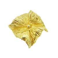NAPIER Gold Tone Square Pinwheel Flower Brooch Matte Polished