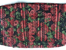Lularoe bright green and coral shapes pattern Print TC Legings Plus Size NEW