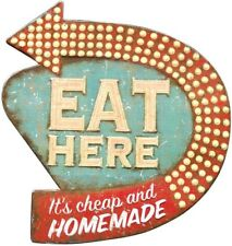 """Retro Diner Kitchen Sign Plaque, """"Eat Here"""" Vintage Tin Wall Art, 16"""" H x 15"""" W"""