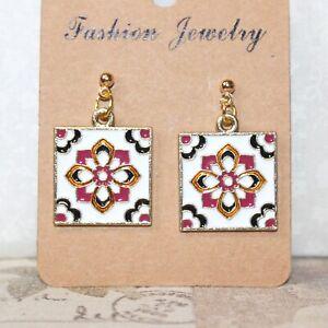 Enamel square tile earrings floral pattern gold plated