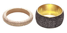 Luxurious Multipack Gold /black Chunky Diamanté Engraved Hand Bangles(Ns15)