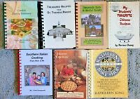 7 SPIRAL COOKBOOKS LOT COMMUNITY LOCAL COOK BOOK VTG HTF RECIPES