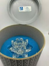Swarovski Silver Crystal Waterlily Lotus Flower Candle Holder in Original Box