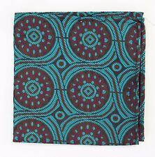 Hankie Pocket Square Handkerchief Teal Brown & Purple Roundel