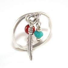 Sterling Silver Feather Blue Turquoise Red Coral Bead Charm Dangle Ring Size 5