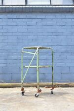 Vintage Industrial Military metal  trolley two tier Utilitarian  display storage