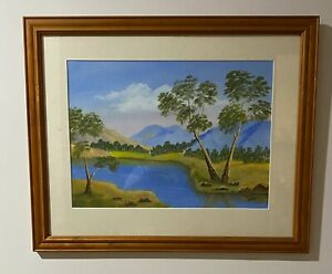 """Amelia Nufer Framed Original Oil Painting """"untitled"""" River and Mountains"""