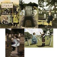Boneyard Brats Cemetery Macabre Cute Children and Skulls 5 Postcards by NoMonet