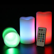 3pc LED Flameless Candles  Pillar 12 Color Changing w/ Remote Glow WeddingP&T
