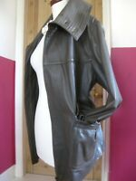 RRP£199 Ladies M&S AUTOGRAPH taupe real leather JACKET COAT LARGE UK 16 swing