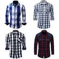 New Mens Casual Button Down Dress Shirt Long Sleeve Slim Fit Plaid Cotton Shirts