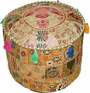 Indian Large Hippie Mandala Handmade Ottoman Pouffe Bohemian Decor