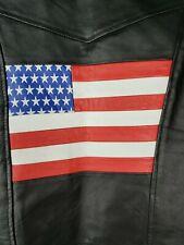 Men's American Flag Biker Vest  Motorcycle Leather Vest Sz S Small America USA