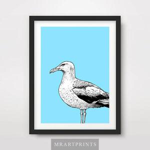 SEAGUL ART PRINT POSTER Animals Birds Blue Beach Seaside Decor Illustration