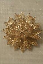 Antique Sterling Silver Brooch Pin Gold Vermeil  Filigree Flower