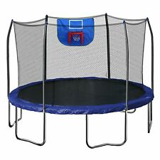 12-Feet Jump N' Dunk Trampoline with Safety Enclosure and Basketball Hoop Kids