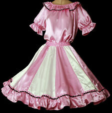 "New PINK & WHITE SQUARE DANCE DRESS,OUTFIT SKIRT, BLOUSE SIZE LARGE W35""-42"""