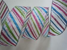 5yd Sparkle Green Blue Pink Stripes Wire Ribbon Christmas Decor Winter Craft bow
